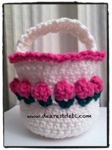 Crochet Flower Basket - Dearest Debi Patterns