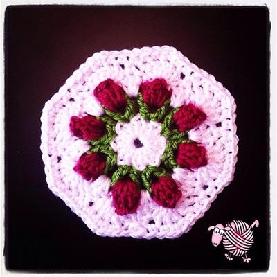 Crochet Flower Bud Granny Octagon - Dearest Debi Patterns