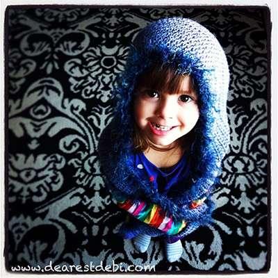 Crochet Snow Bear Kid Scoodie - Dearest Debi Patterns