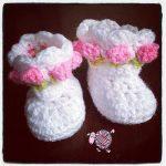 Crochet Little Miss Flower Booties - Dearest Debi Patterns